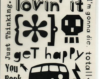 Get Happy Quotes Rub On Transfers Cosmo Cricket Scrapbook  Embellishments Cardmaking Crafts
