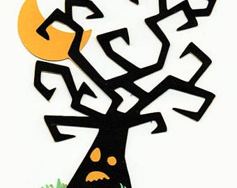 Tree Halloween Paper Piecing Premade Scrapbook Card Making Scrapbooking Pages Die Cuts