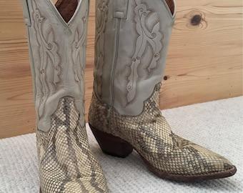Vintage Womens DAN POST Snakeskin Cowboy Boots Size 7 White Grey Beige