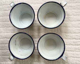 Set of Four Vintage Blue and White Enamelware Coffee Cups Mugs