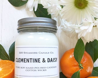 16 oz. Clementine & Daisy Hand Poured Pure Soy Candle with Cotton Wick
