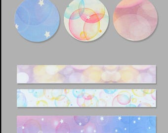 Multi-Color Stars and Bubbles 3-Pack Washi Tape