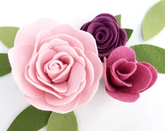 Felt Flowers with a Flat Back for Decorating your own projects . Felt Flower Embellishments . Pink Felt Roses