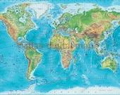 World Map Mural Blue Physical and Political (Vinyl/XL)