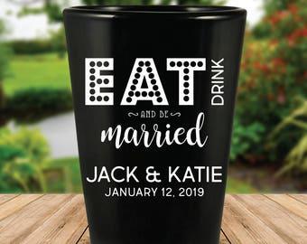 Custom Eat, Drink, and Be Married Black Wedding Favor Shot Glasses