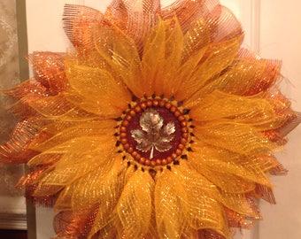 Autumn/Fall Deco Mesh Flower Wreath