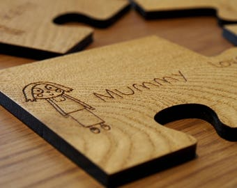 Personalised Family Set of Solid Oak Jigsaw Puzzle Coasters