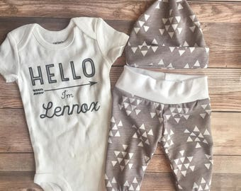 Gray Triangle Baby Boy Coming Home Outfit, Hello, personalized newborn, Coming Home outfit boy, baby boy outfit, baby shower gift