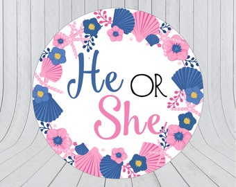 Nautical Gender Reveal labels, Gender Reveal favour stickers, nautical gender reveal baby shower, gender reveal stickers, baby shower  218