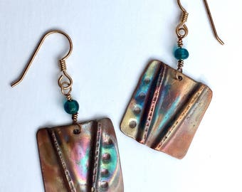Copper Fold Formed Earrings with Iridescent Patina