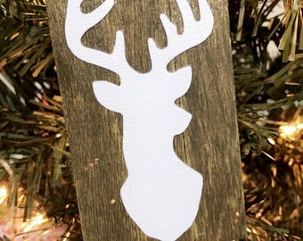 Rustic Deer Head Ornament
