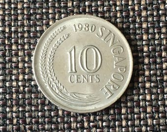 1980 Singapore 10 cents coin