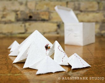 Portable Mountain Range Paper Sculpture - for when you need a little adventure (white)