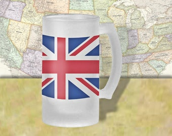 England Flag Beer Mug, Beer Stein, Country Flag, Country Pride, Beer Glass, 16 oz., Frosted Mug, Beer Thinkers, Beer Lovers, Cold Beer