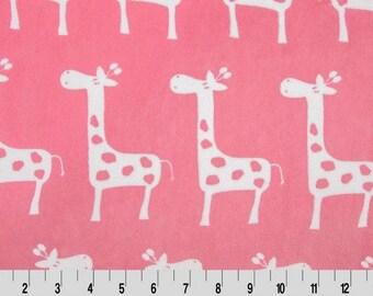 Premier Giraffa Cuddle® Paris Pink/Snow, Shannon Minky Fabric, Cuddle Fabric, Minky Fabric by Yard, 100% Polyester
