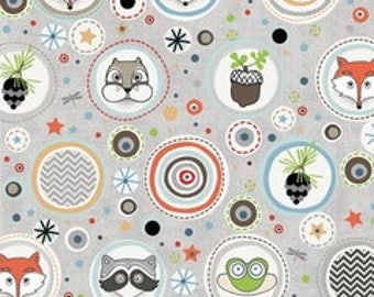 Critter Polka Fabric from Adornit - Timberland Critters Fabric Collection - Adornit Fabrics - Fox Fabric - Kids Fabrics - Critter Fabric