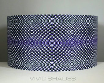 Geometric fabric pattern lampshade handmade by vivid shades, modern retro lamp  shade custom made funky light shade for ceiling or lamp base