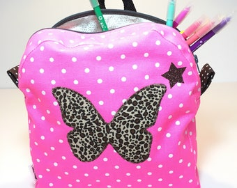 Backpack child neon pink cotton canvas with butterfly application leopard and white dots printed cotton lining silver