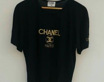 Vintage CHANEL Gold Embroidered Logo T-shirt