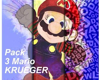 Mario Krueger Trilogy, nintendo, mario, imprimable, dessin, peinture, décoration, enfant, tableau, illustration,
