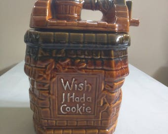 McCoy Pottery Wishing Well Cookie Jar - Brown Drip McCoy Cookie Jar - Wish I had a Cookie - Vintage McCoy Collectible Cookie Jar Stoneware