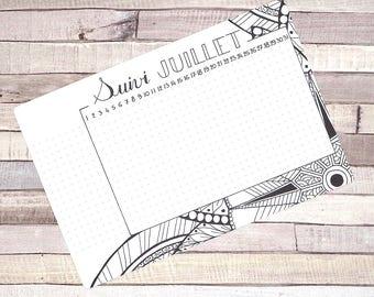 Habit Tracker Printable, July, Planner and Bullet Journal