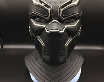 Black panther helmet with neck piece Life-size scale  fully pattern detail , paint from marvel movies captain america civil war