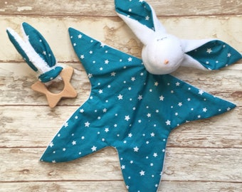 Birth gift set box doudou bunny rabbit and wooden teething ring comforter first toy baby blankie motif stars