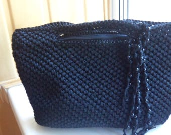 Crocheted black bag with top handle