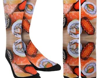 Sushi Crew Socks - Sushi - Socks with Sushi - Crazy Socks - Unique Socks-Novelty Socks-Mens Socks -Womens Socks -Clothing- FREE Shipping F86