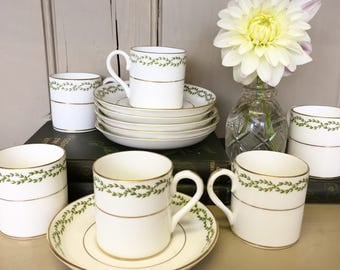 Six Demitasse Coffe Cups and Saucers made by Crown Staffordshire for Harrods