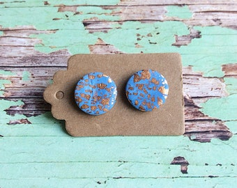 Blue and copper foil stud earrings, stud earrings, polymer clay earrings, handmade by wickedsisterstudio