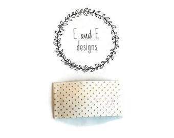 White and Gold Dots Leather Snap Hair Clip