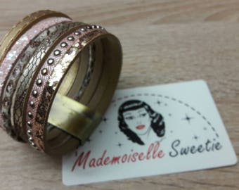 Model Paris - Bracelet / cuff 6 rows of pink and gold leather * Leather bracelet golden and pink
