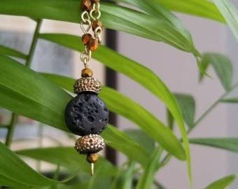 Lava Bead Diffuser Necklace - Amber