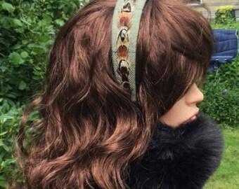 Tweed and feather headband