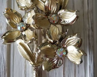 "Estate Signed ""Coro"" Dogwood Flower Brooch"
