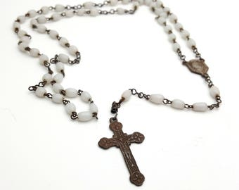 Vintage Rosary Mother of Pearl Beads Virgin Mary Center Rusted Metal Crucifix Cross Antique First communion Prayer Confirmation Wedding