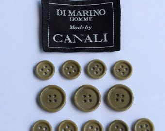 Set of 12 pcs Canali plastic buttons 3 big and 9 small