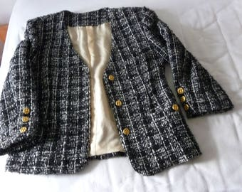 B & W TWEED jacket - finished hand - 80's - Channel style