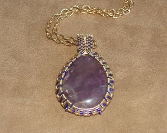 338 Heavy alternating triangle purple and gold amethyst teardrop