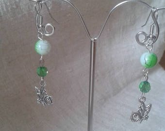 Butterfly and green pearl earrings