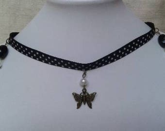 Butterfly and polka dots Ribbon Choker necklace