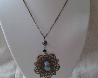 """necklace """"black and gray cameo"""""""