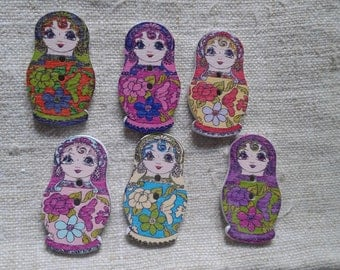 "set of 10 ""dolls"" multicolored buttons, wooden"