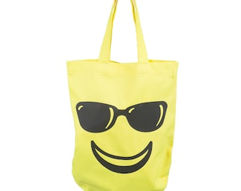 Bag Shoppingbag cotton shoulder bag yellow smilie 'smiling face with sunglasses', Emojivariante
