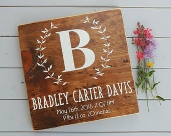 Newborn stats sign, baby stats sign, nursery sign, baby shower gift, custom sign