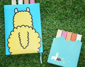 Alpaca Notebook Set - Llama Gift - Alpaca Gift - Animal Sticky Notes - Kawaii Notes - Japanese Stationery Set - Llama Notebook - Post It Set