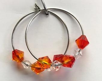 Swarovski Fire Opal & Crystal bicones Hoop Earrings