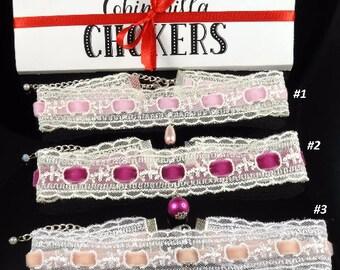 White Lace Choker Pink Velvet Choker White Choker Lace and Velvet Choker Delicate, Dainty, Feminine, Boho Lace Choker Necklace Pink Choker